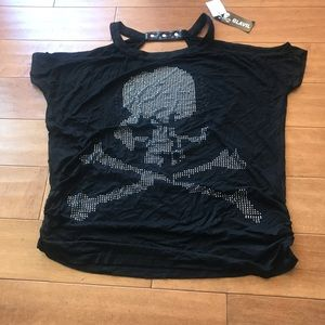 Glavil Skull Head Cut Out Shoulder Studded Tee